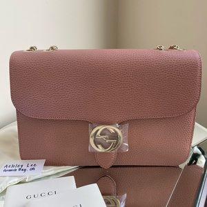 Gucci Dollar Calf Pink Leather medium Flap Bag